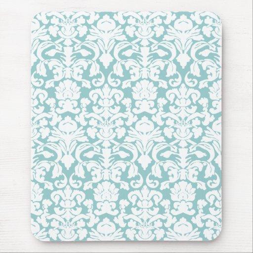 Damasco blanco y azul mouse pads