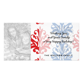 damasco blanco y azul rojo americano tarjetas fotograficas personalizadas