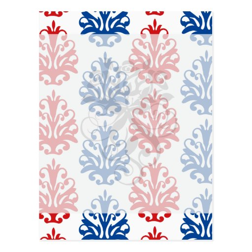 damasco blanco y azul rojo americano tarjetas postales