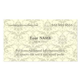 Damasco blanco y gris ejecutivo tarjetas de visita
