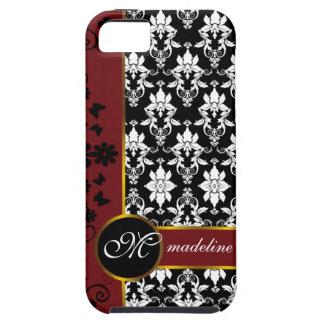 Damasco blanco y negro con la frontera floral roja iPhone 5 Case-Mate cobertura