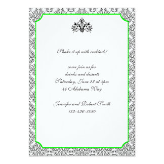 Damasco blanco y negro con la invitación del