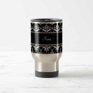 Damasco blanco y negro conocido personalizado taza