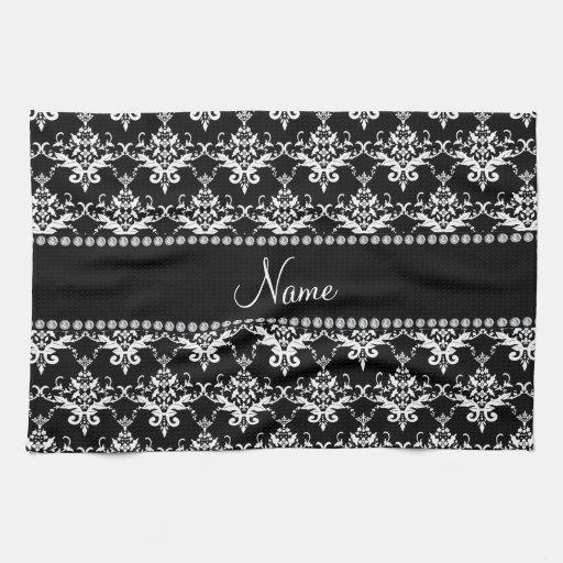 Damasco blanco y negro conocido personalizado toalla de mano