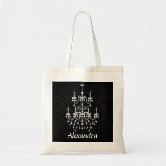 Damasco blanco y negro de la lámpara con nombre de bolsa tela barata