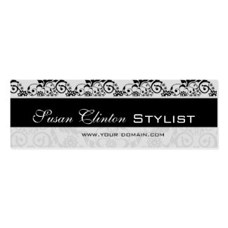 Damasco blanco y negro   del cordón tarjetas de visita mini