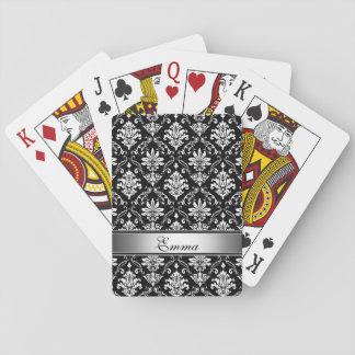 Damasco blanco y negro del monograma cartas de juego