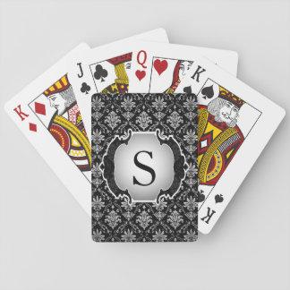 Damasco blanco y negro del monograma cartas de póquer