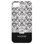 Damasco blanco y negro del vintage con el monogram iPhone 5 Case-Mate cobertura