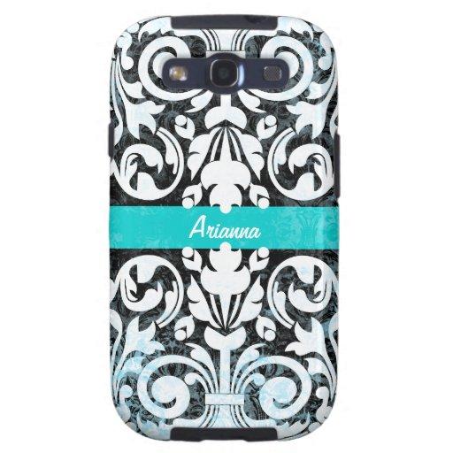 Damasco blanco y negro del vintage del Grunge pers Galaxy S3 Protector