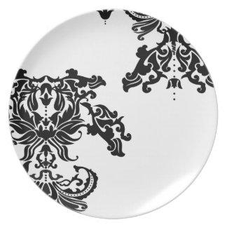 Damasco blanco y negro del vintage plato de comida