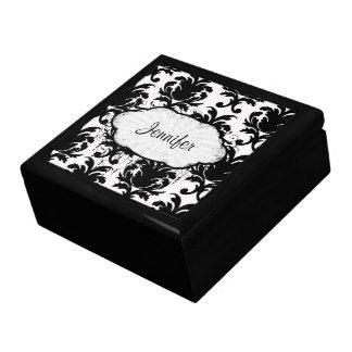 damasco blanco y negro elegante caja de recuerdo