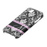 Damasco blanco y negro elegante con el monograma iPhone 5 protectores