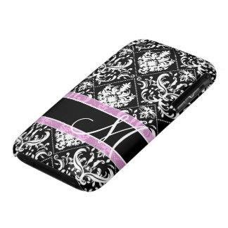 Damasco blanco y negro elegante con el monograma iPhone 3 Case-Mate protector