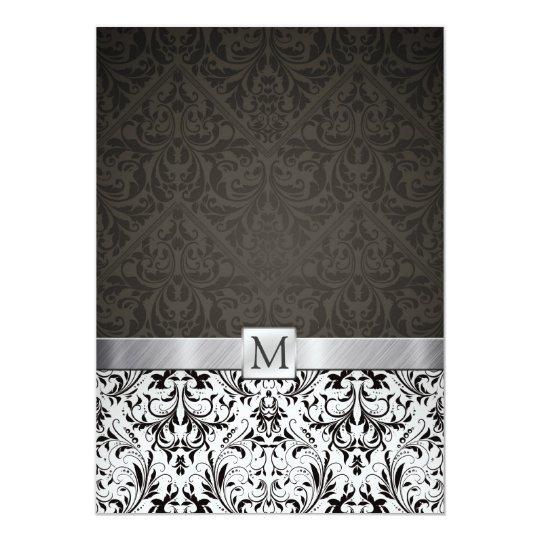 """Damasco blanco y negro elegante con el monograma invitación 5"""" x 7"""""""
