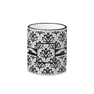 Damasco blanco y negro elegante del art déco taza de dos colores