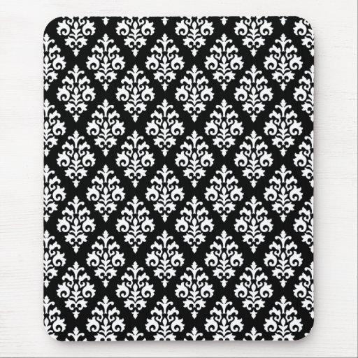 Damasco blanco y negro elegante Mousepad Alfombrillas De Ratón