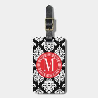 Damasco blanco y negro elegante personalizado etiquetas para maletas