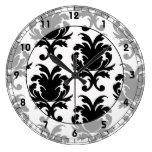 damasco blanco y negro elegante reloj