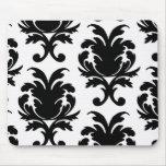 damasco blanco y negro elegante tapete de ratón