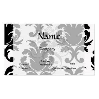 damasco blanco y negro elegante tarjetas de visita