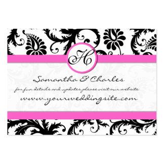 Damasco blanco y negro floral con el borde rosado