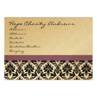 Damasco blanco y negro floral con la cinta púrpura tarjetas de visita grandes