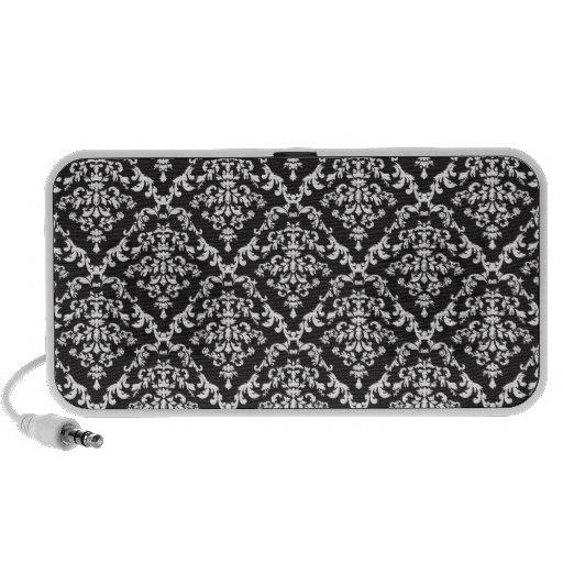 Damasco blanco y negro floral iPhone altavoces