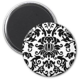 Damasco blanco y negro imán redondo 5 cm