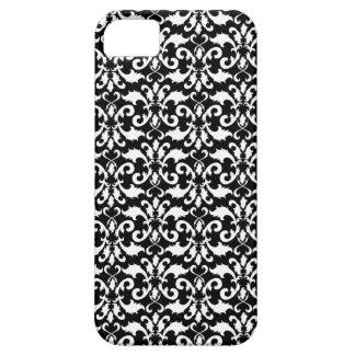 Damasco blanco y negro iPhone 5 funda