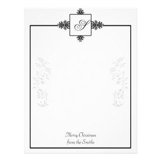 Damasco blanco y negro membrete a diseño