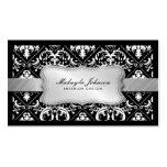 Damasco blanco y negro moderno elegante con plata plantillas de tarjetas de visita