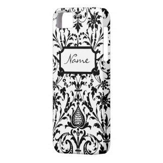 Damasco blanco y negro moderno iPhone 5 Case-Mate carcasas