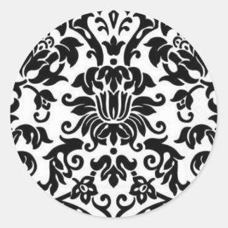 Damasco blanco y negro pegatina redonda