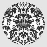 Damasco blanco y negro pegatinas redondas
