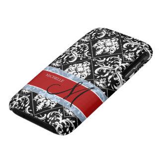 Damasco blanco y negro personalizado con Mongram iPhone 3 Carcasa