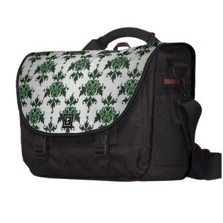 Damasco blanco y verde de plata elegante bolsas para portatil