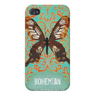 Damasco bohemio i de la mariposa iPhone 4/4S carcasas