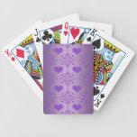 Damasco bonito de los corazones púrpuras de la lav baraja de cartas