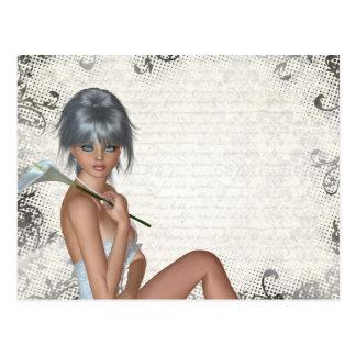 Damasco bonito del chica y de la plata postal