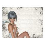 Damasco bonito del chica y de la plata tarjeta postal