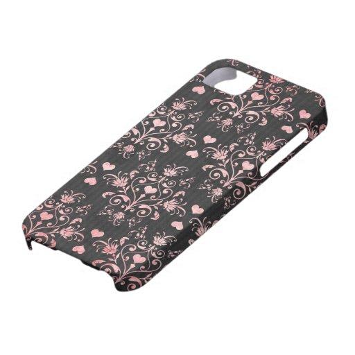 damasco bonito del rosa del corazón en negro lavad iPhone 5 Case-Mate protector