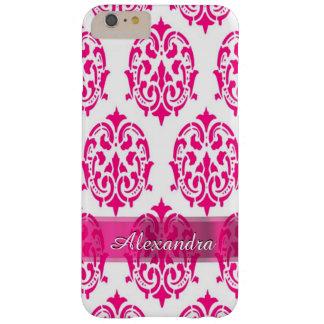 Damasco bonito personalizado de las rosas fuertes funda barely there iPhone 6 plus
