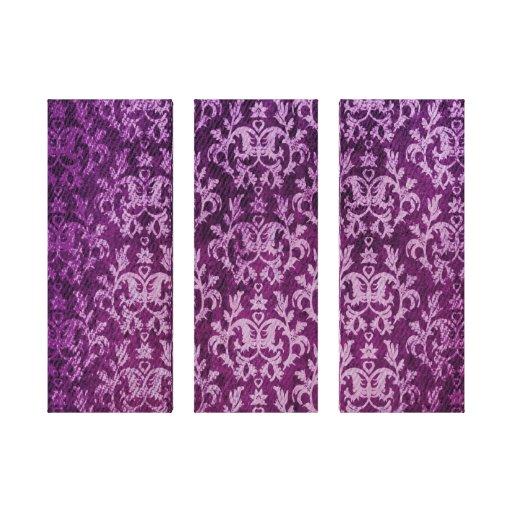 Damasco botánico y impresión púrpura del tríptico lona estirada galerías