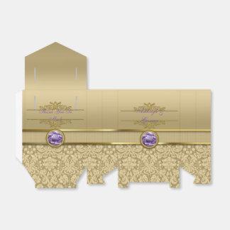 Damasco brillante metálico del oro de la falsa caja para regalos de fiestas