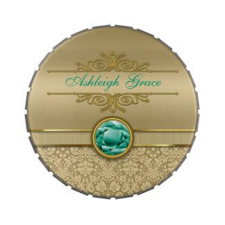 Damasco brillante metálico del oro de la falsa jarrones de dulces