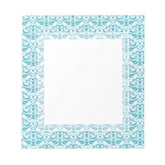 Damasco caligráfico azul del trullo elegante de la bloc de notas