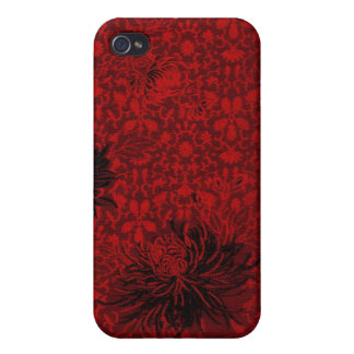 damasco chino floral de iphone4/4S-Red iPhone 4 Cárcasas