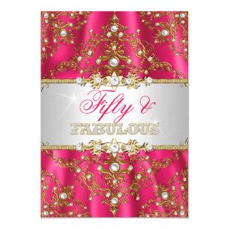 """Damasco cincuenta del oro y de la perla de las invitación 5"""" x 7"""""""