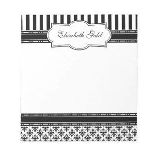 Damasco clásico blanco y negro elegante blocs de papel